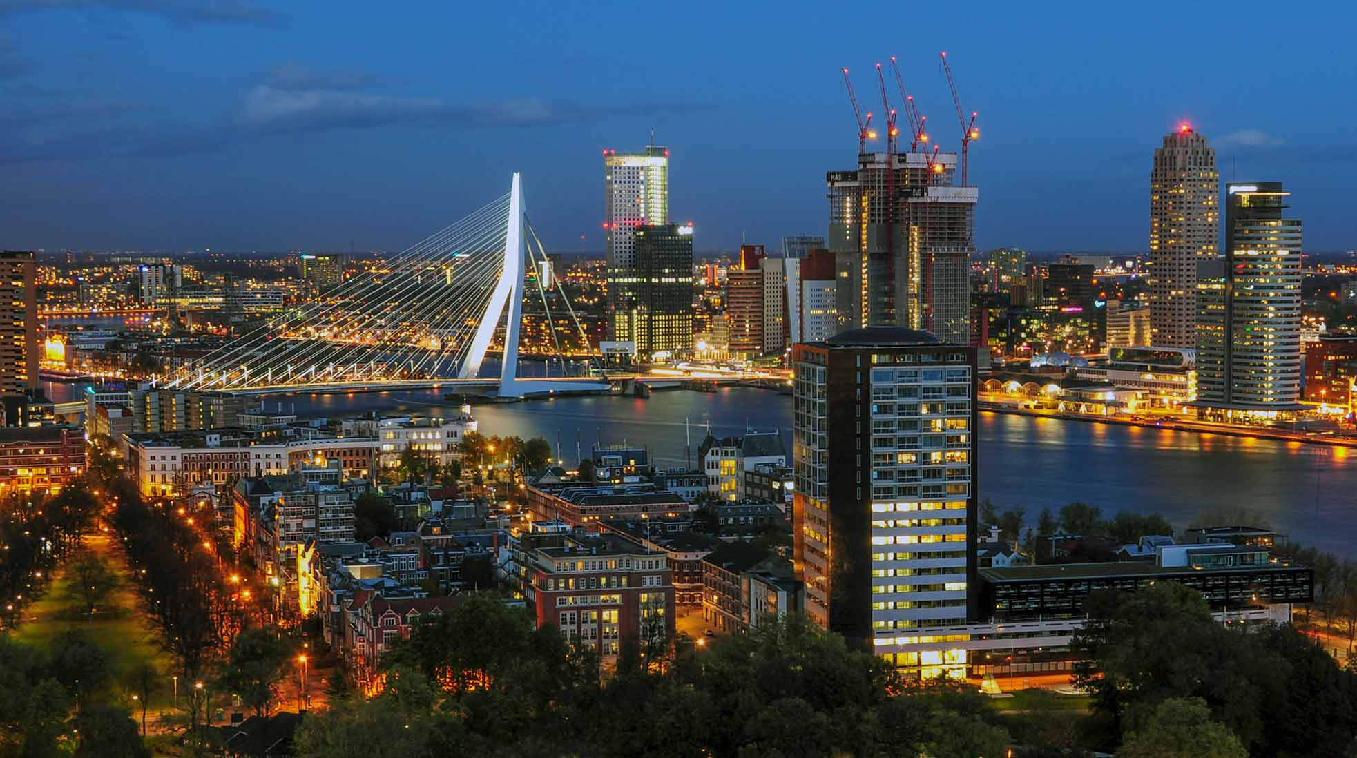 Centrala Rotterdam med Erasmusbrug sett från Euromast. Foto: Mlefter via Wikimedia Commons (CC BY-SA 3.0)